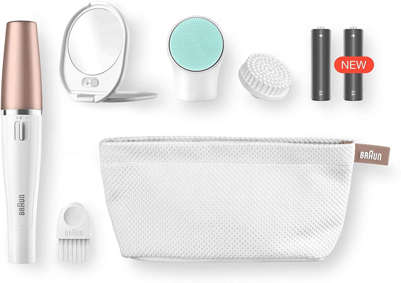 depiladora facial con accesorios